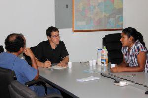 Greg interviewing teresa in honduras