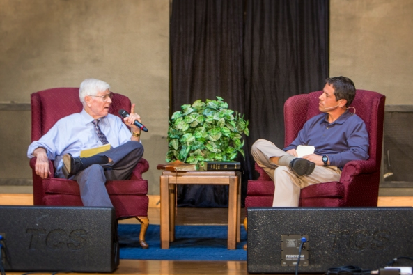 Marvin Phillips and Greg Taylor talk September 7, 2014 on the occasion of the Garnett Church of Christ mortgage burning.